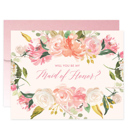 Blush Florals Will You Be My Bridesmaid? Card