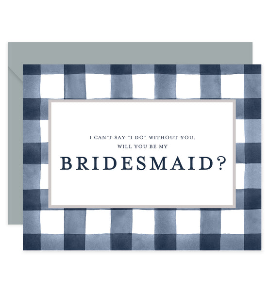 Navy Gingham Will You Be My Bridesmaid? Card | Coll. 3