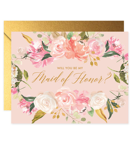 Pink Florals Will You Be My Bridesmaid? Card