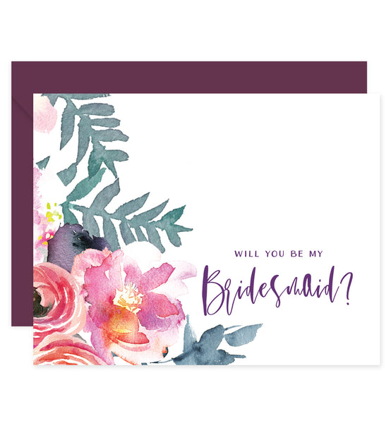 Purple Floral Bridesmaid Proposal Card