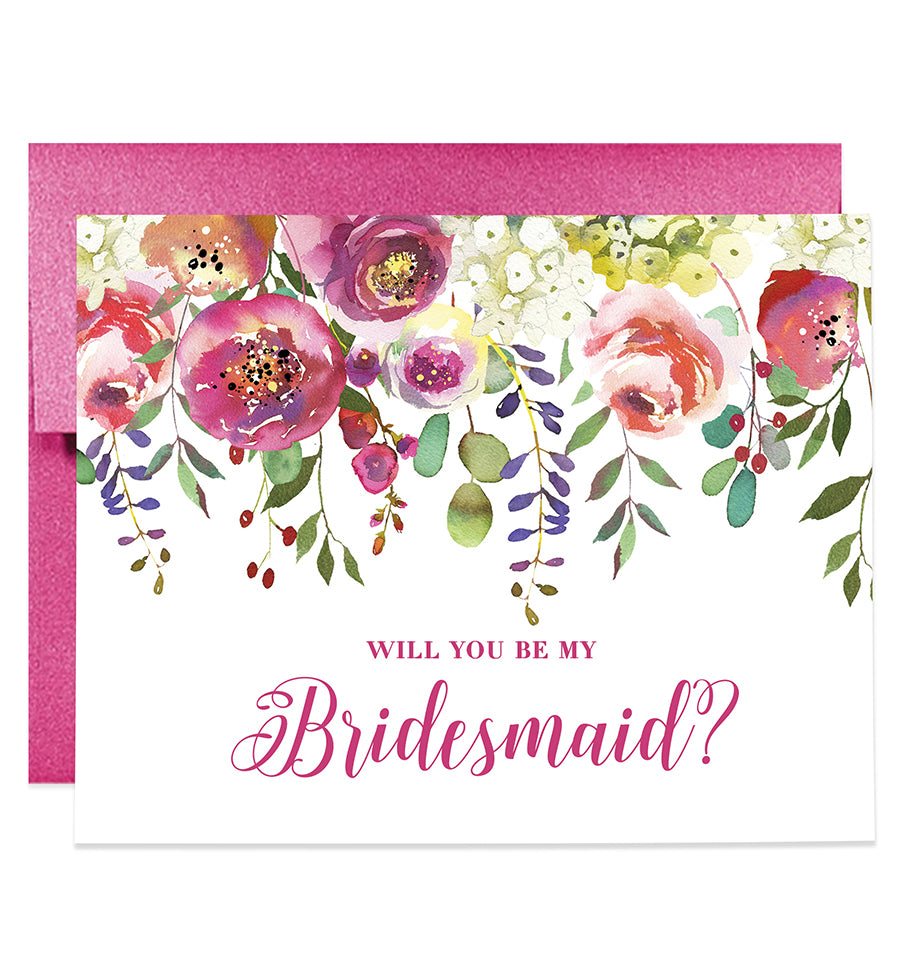 Rainbow Floral Will You Be My Bridesmaid? Card | Amber