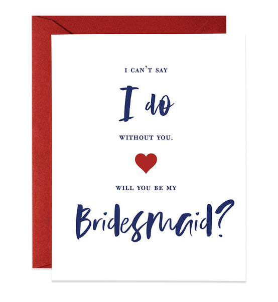Modern Navy Lettering Bridesmaid Proposal Card | Mia