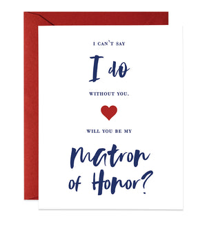 Modern Navy Lettering Maid of Honor Proposal Card | Mia