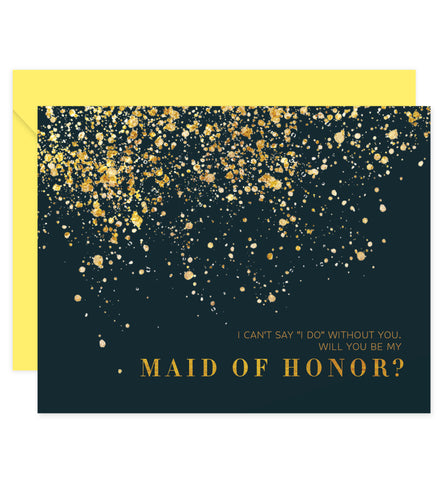Classic Black & Gold Will You Be My Bridesmaid? Card | Coll. 25