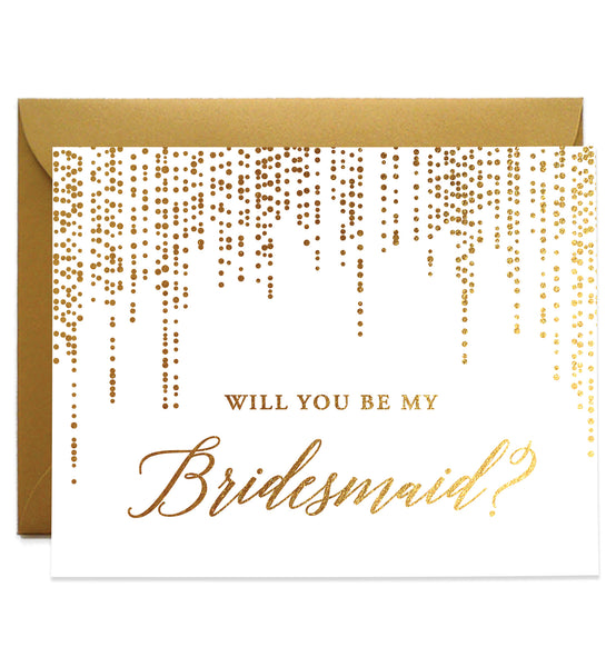 Real Gold Foiled Bridesmaid Proposal Card