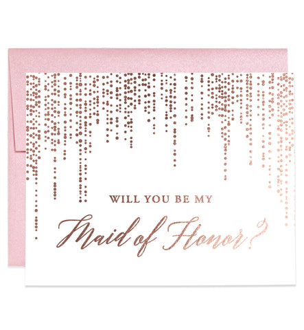 Rose Gold Foiled Bridesmaid Proposal Cards