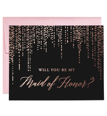 Will You Be My Bridesmaid? Rose Gold Foil Black Proposal Card
