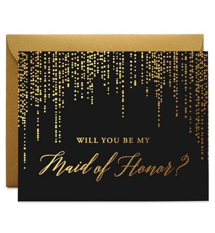Will You Be My Bridesmaid? Gold Foil Black Proposal Card