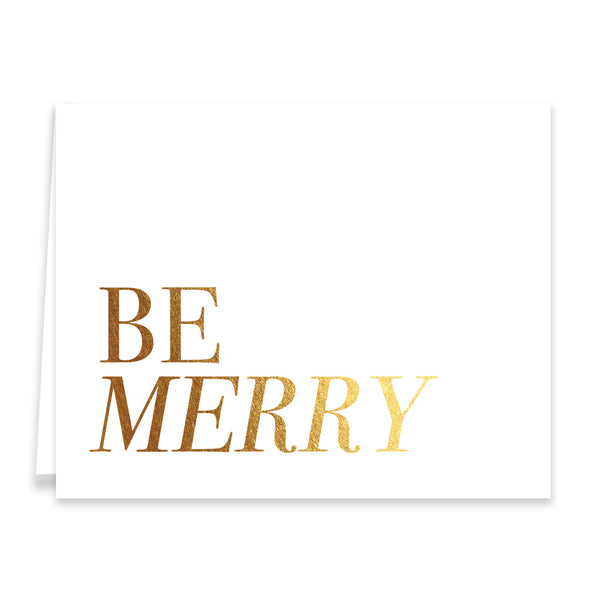 Be Merry Gold Foil Boxed Holiday Cards | Carey