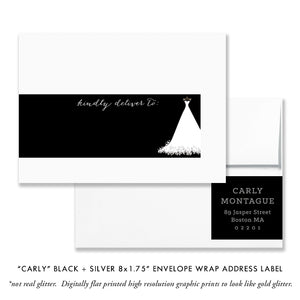 """Carly"" Black + Silver Bridal Shower Invitation"