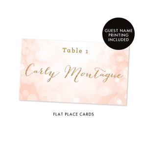 Blush Bokeh + Gold Glitter Place Cards | Carly