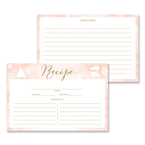 Glitter Recipe Cards |  Carly Blush Gold