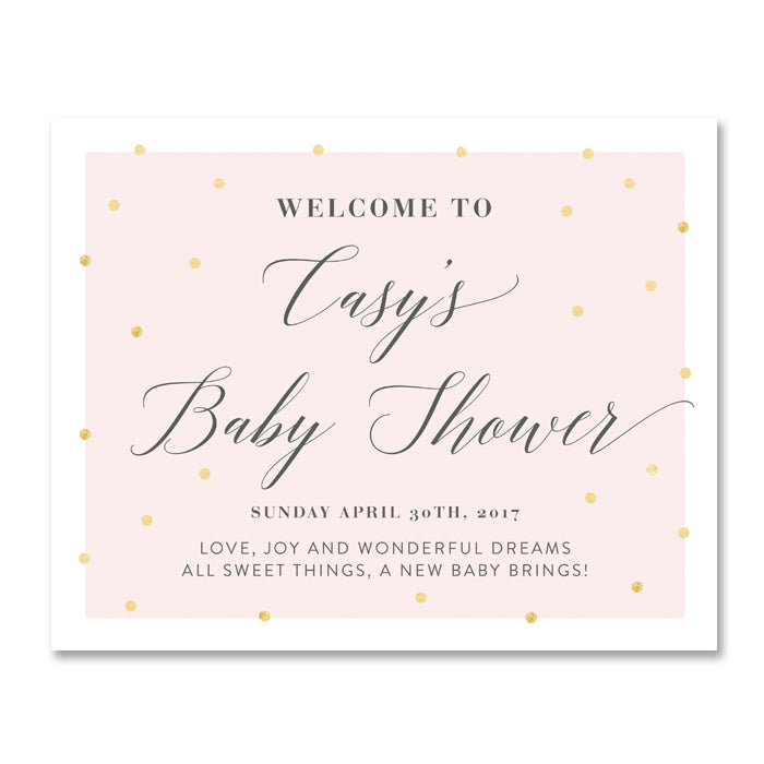 """Casy"" Pink + Gold Foil Dots Baby Shower Welcome Sign"
