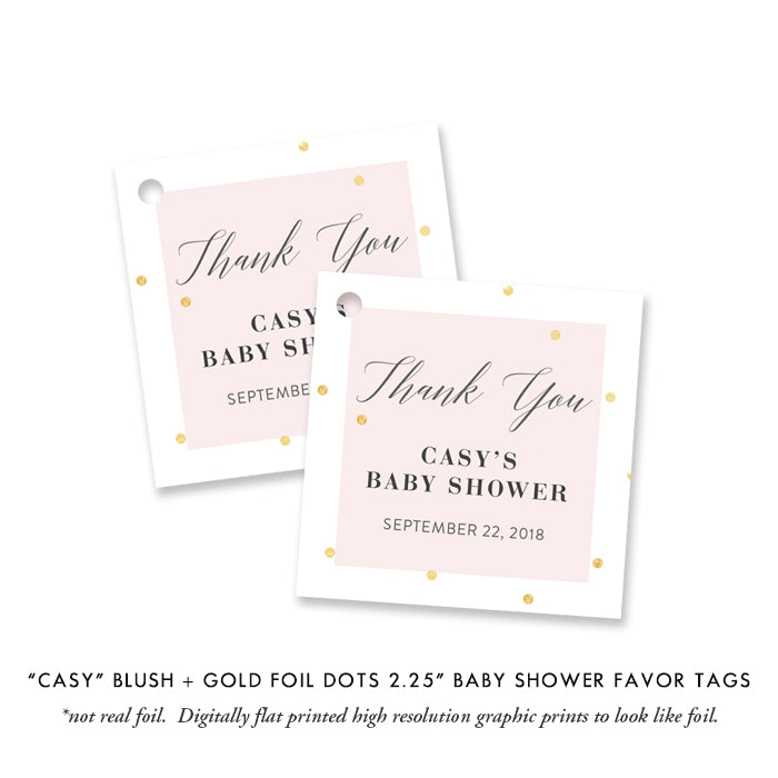"""Casy"" Pink + Gold Foil Dots Baby Shower Invitation"