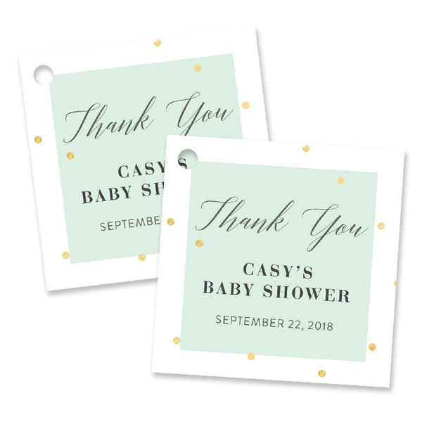 """Casy"" Mint + Gold Foil Dots Baby Shower Favor Tags"