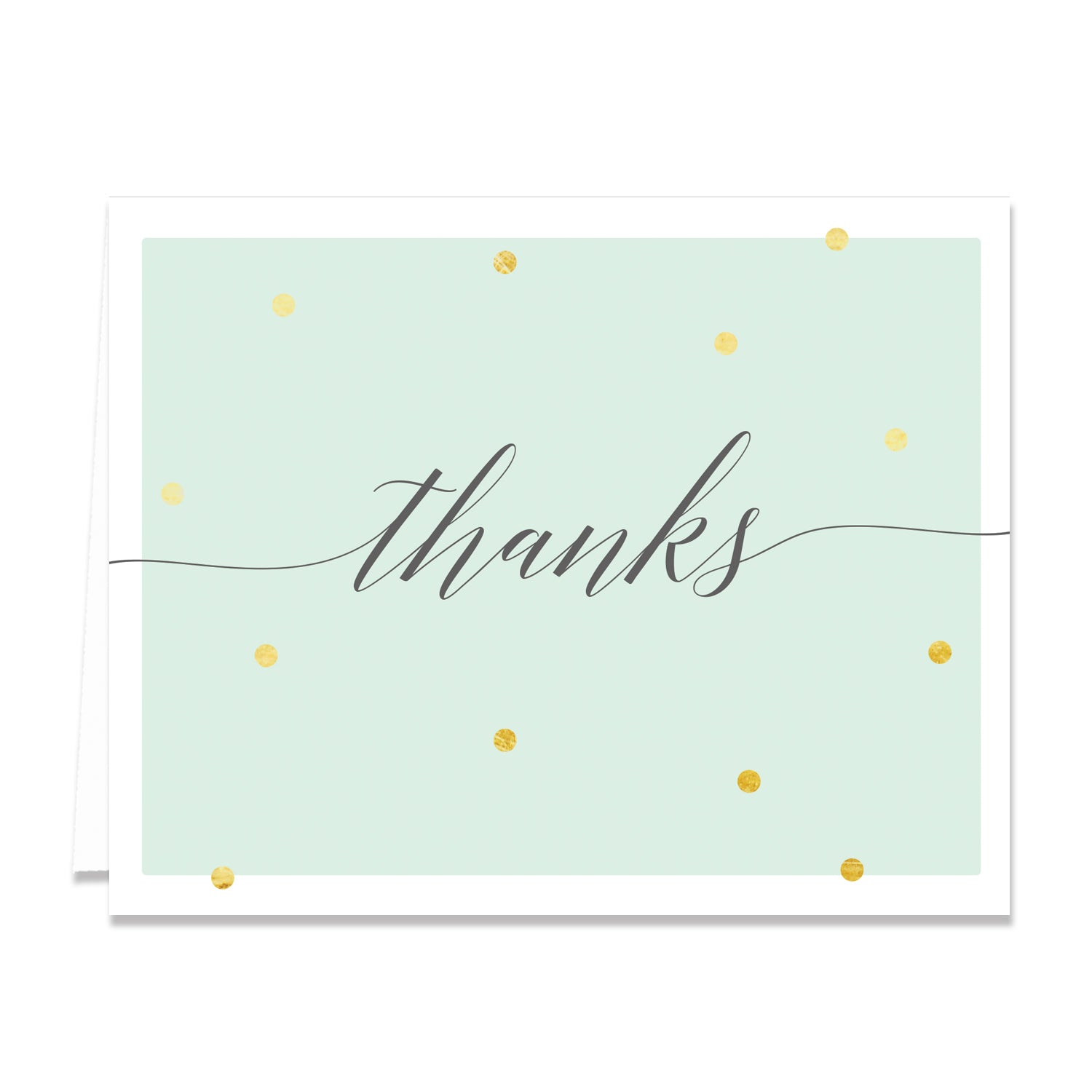"""Casy"" Mint + Gold Foil Dots Thank You Card"