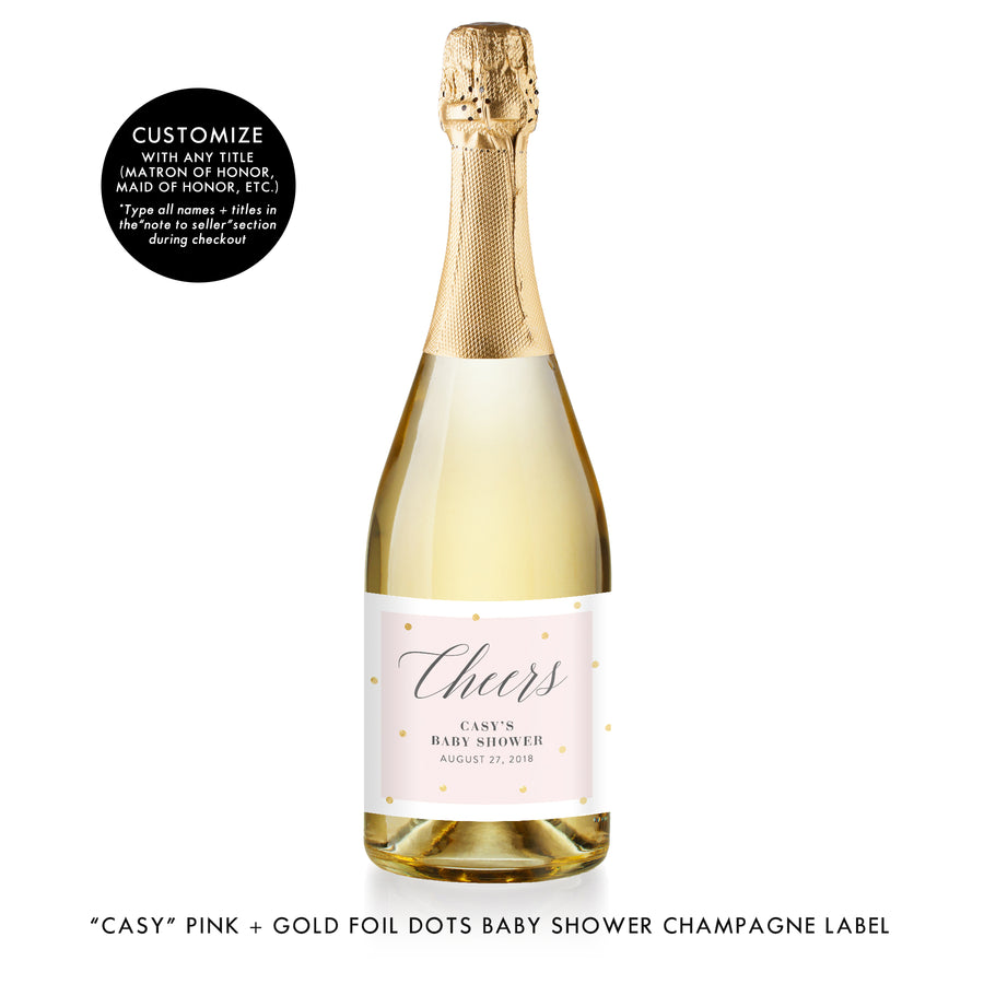 """Casy"" Pink + Gold Foil Dots Baby Shower Champagne Labels"