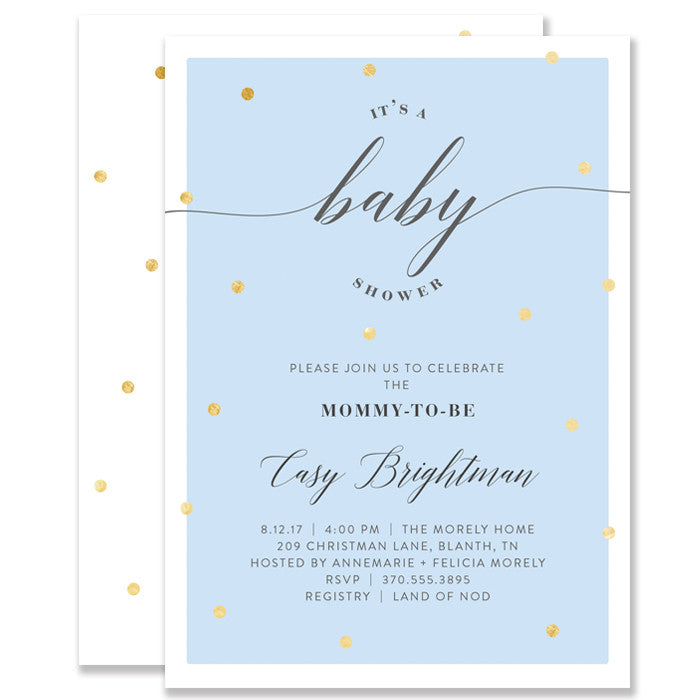 """Casy"" Blue + Gold Foil Dots Baby Shower Invitation"