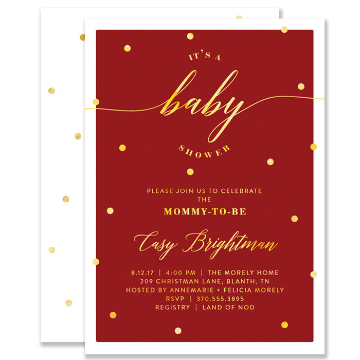 """Casy"" Red + Gold Foil Dots Baby Shower Invitation"