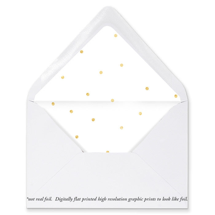 """Casy"" Gold Foil Dots Envelope Liners"