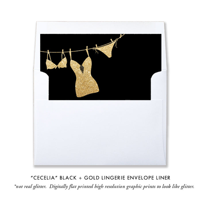 """Cecelia"" Black + Gold Lingerie Shower Invitation"