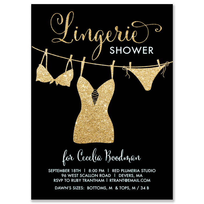 Black and Gold Lingerie Shower Invitation