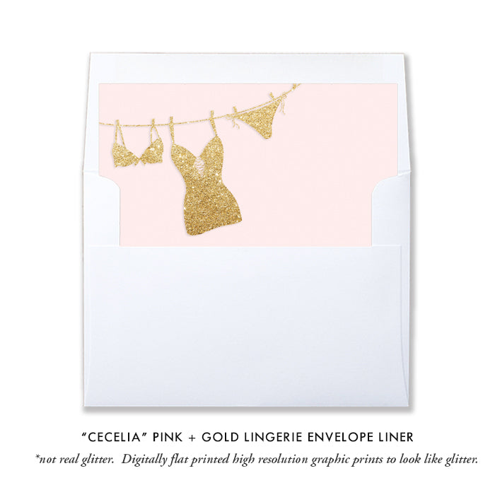 """Cecelia"" Pink + Gold Lingerie Shower Invitation"