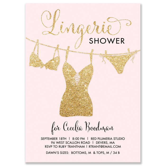 Blush and Gold Lingerie Shower Invitation