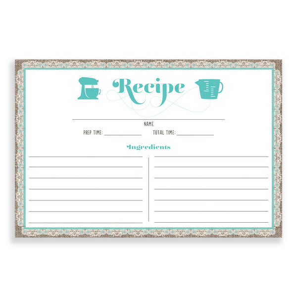 Lace Recipe Cards |  Chloe Teal