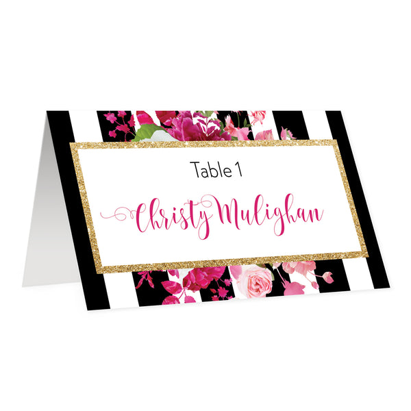 Black Striped Place Cards with Pink Flowers | Christy
