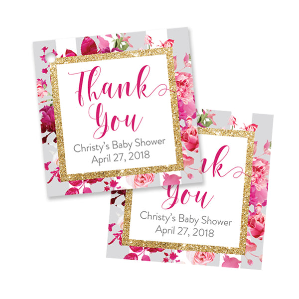 """Christy"" Gray Stripe + Pink Roses Baby Shower Favor Tags"