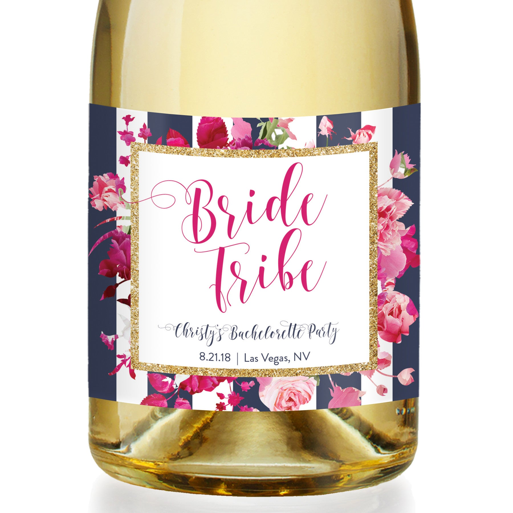 """Christy"" Floral + Navy Stripe Bachelorette Party Champagne Labels"