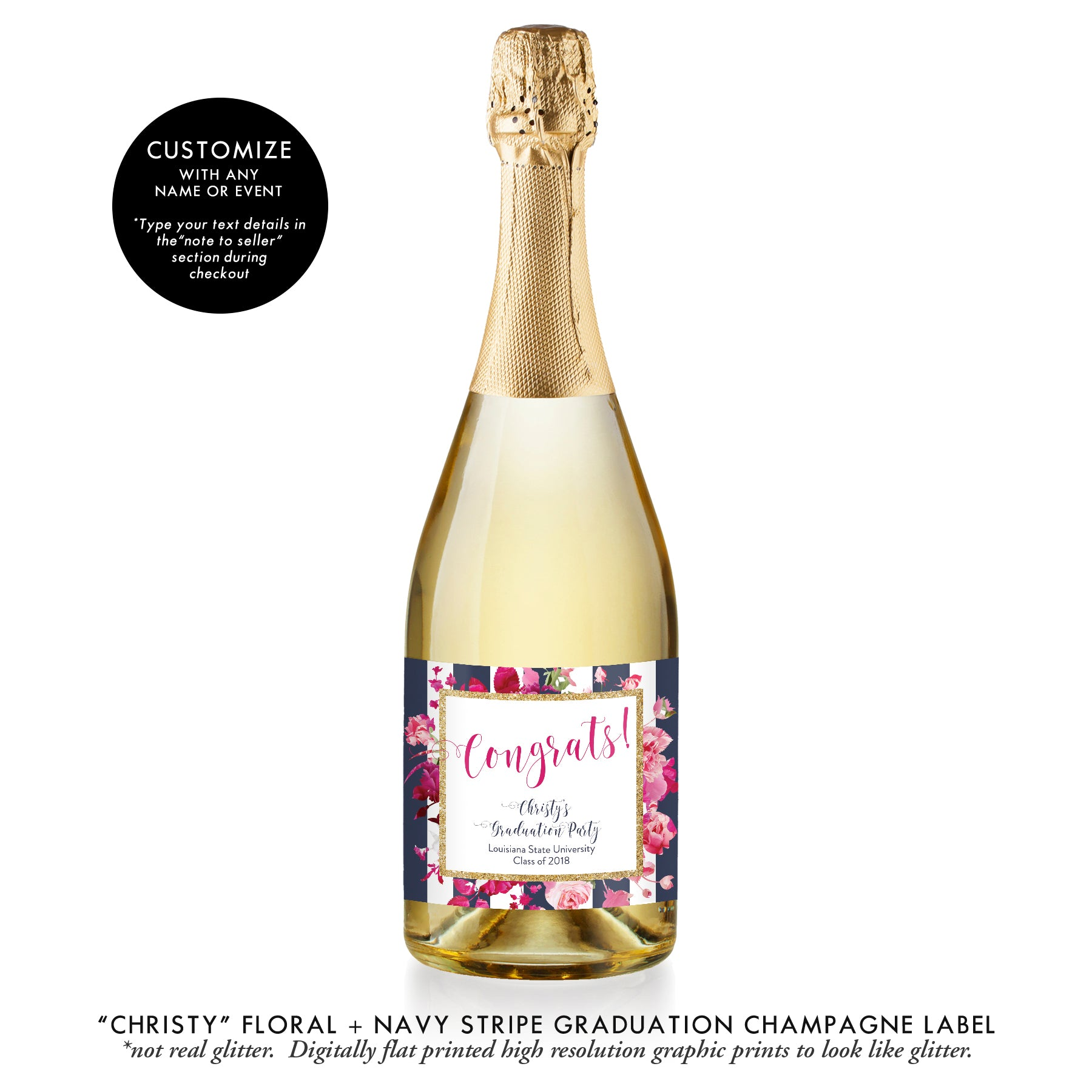 """Christy"" Floral + Navy Stripe Graduation Champagne Labels"