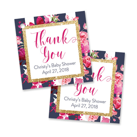 """Christy"" Navy Stripe + Pink Roses Baby Shower Favor Tags"