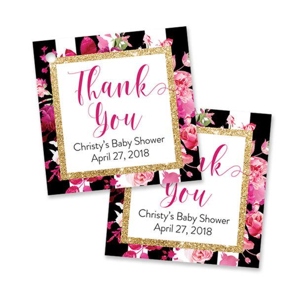 """Christy"" Stripe + Pink Roses Baby Shower Favor Tags"