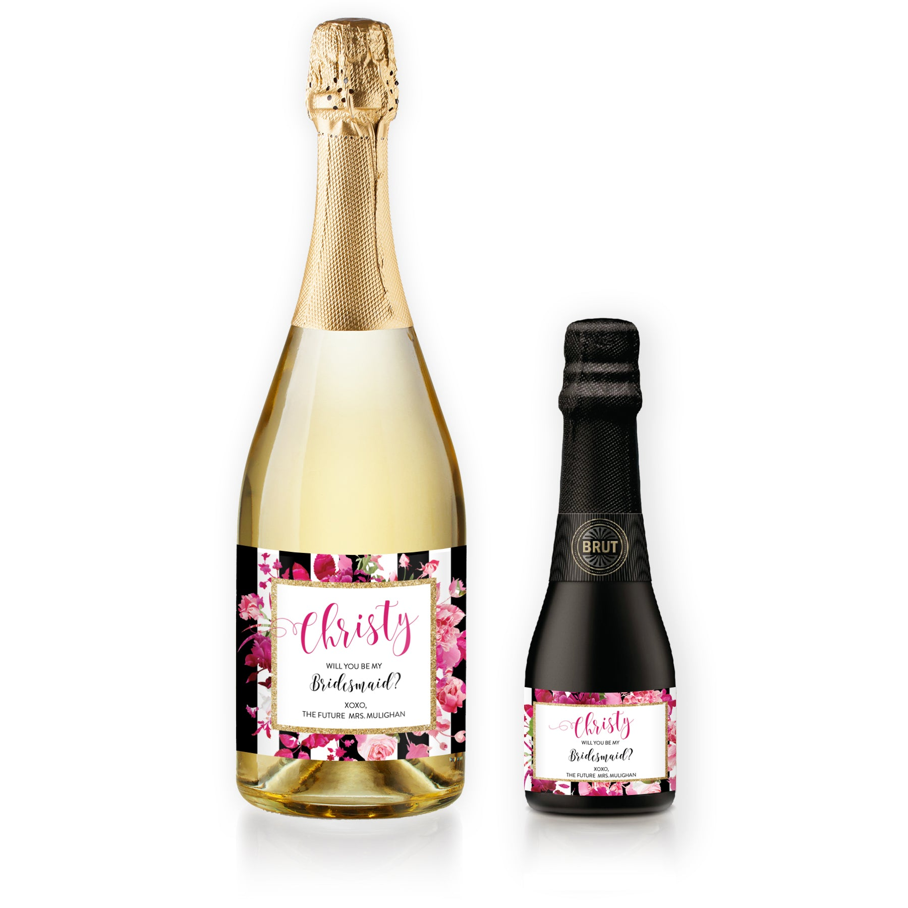 """Christy"" Floral + Black Stripe Bridesmaid Proposal Champagne Labels"