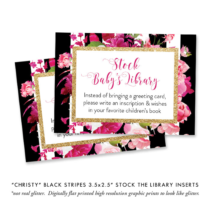 """Christy"" Black Stripe + Pink Roses Baby Shower Invitation"