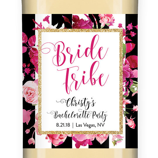 """Christy"" Stripe + Pink Roses Bride Tribe Bachelorette Party Wine Labels"
