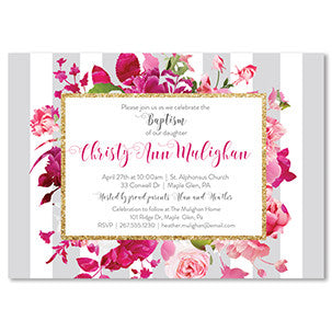 """Christy"" Gray Stripe + Pink Roses Baptism Invitation"