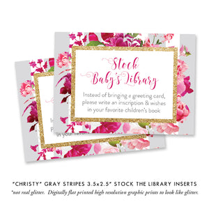"""Christy"" Gray Stripe + Pink Roses Baby Shower Invitation"