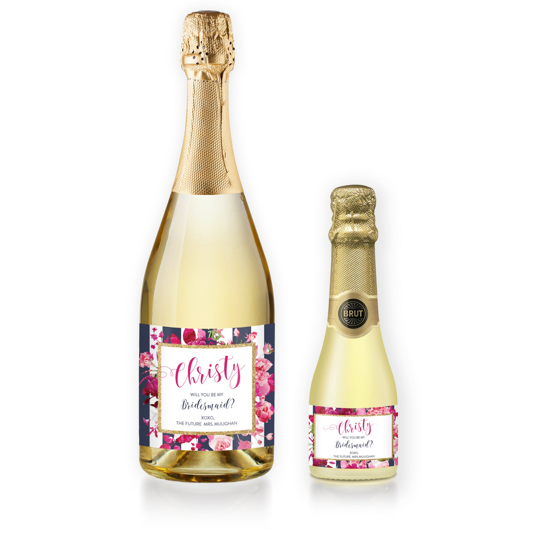 """Christy"" Floral + Navy Stripe Bridesmaid Proposal Champagne Labels"