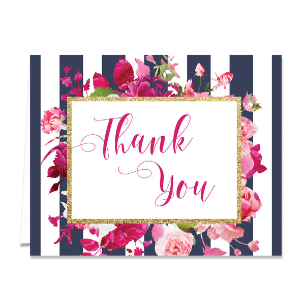 """Christy"" Navy Stripe + Pink Roses Thank You Card"