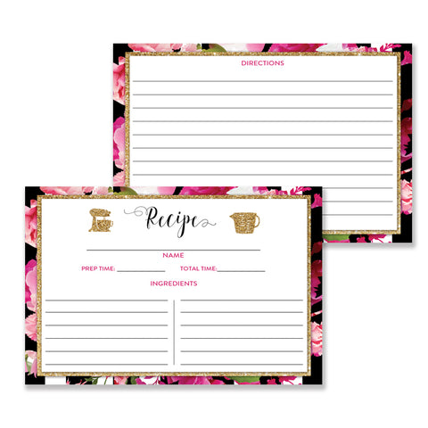 Black Stripe + Pink Roses Recipe Cards