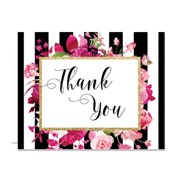 """Christy"" Black Stripe + Pink Roses Thank You Card"