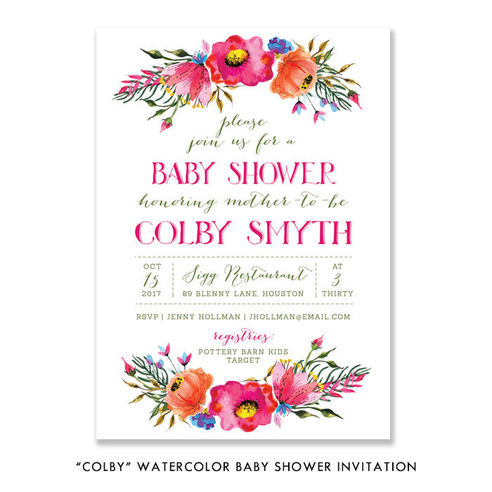 """Colby"" Watercolor Baby Shower Invitation"