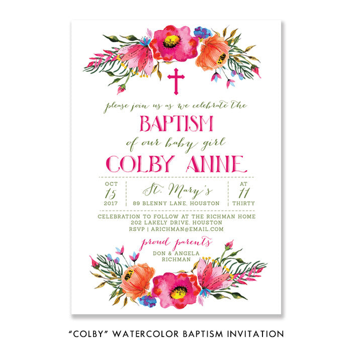 """Colby"" Watercolor Baptism Invitation"