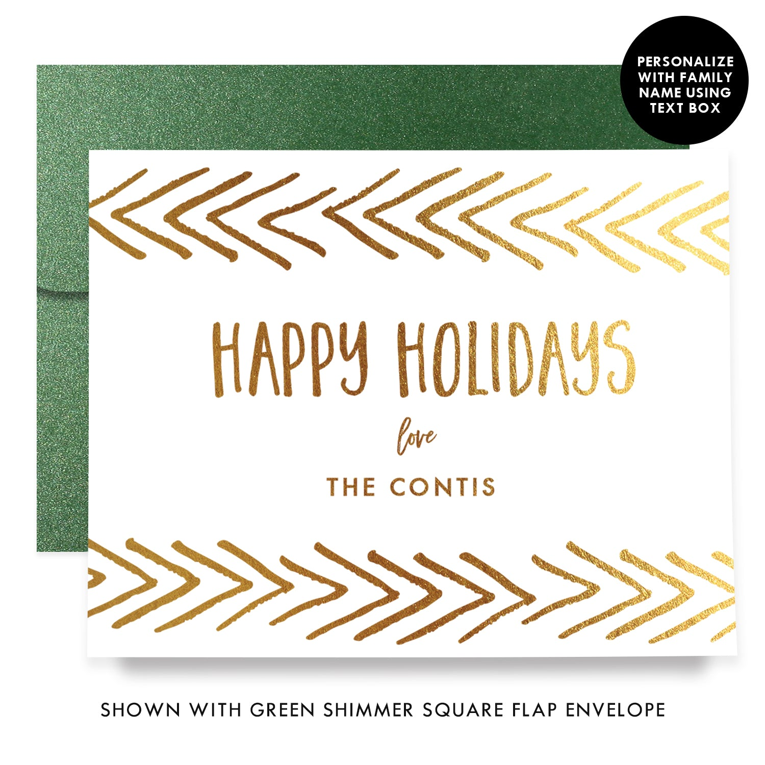 Happy Holidays Gold Foil Personalized Boxed Holiday Cards | Conti