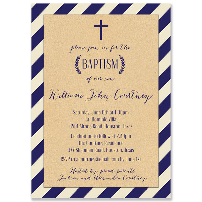"""Courtney"" Kraft + Navy Stripe Baptism Invitation"