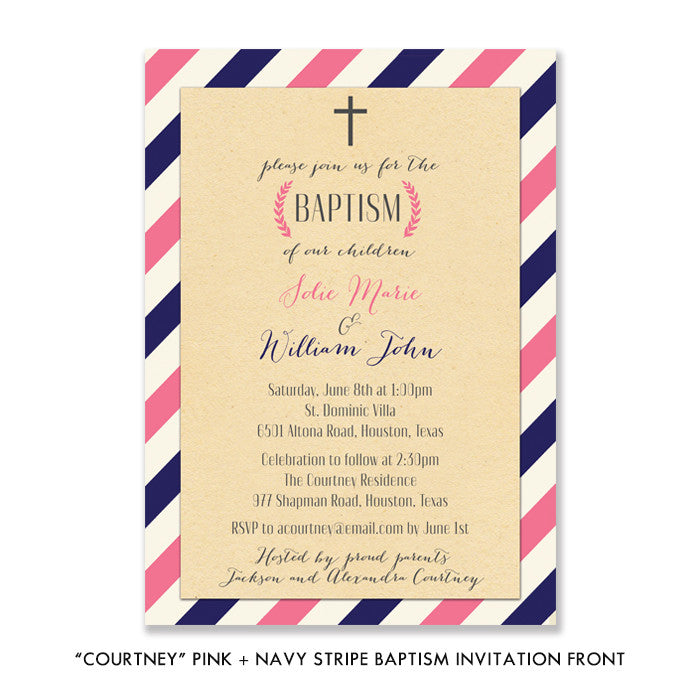 """Courtney"" Pink +Navy Stripe Baptism Invitation"