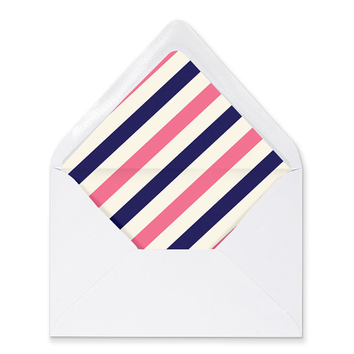 """Courtney"" Pink + Navy Stripe Envelope Liners"